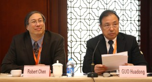 CODATA President, Professor GUO Huadong and former CODATA Secretary General, Dr. Robert Chen chairing the closing panel discussion